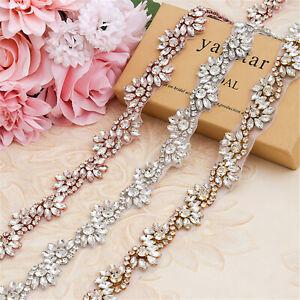 Pearl Rhinestone Belt Sash Applique Chain Hot Glued on Wedding Bridal Dress Gown