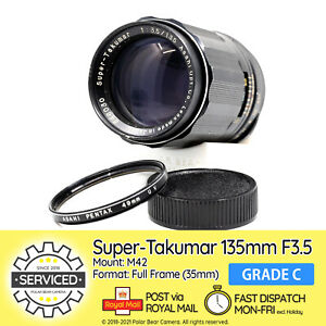 ⭐SERVICED⭐ Pentax Super-TAKUMAR 135mm F3.5 M42 + Ori. UV Filter + Caps [GRADE C]