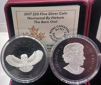 Black Rhodium Nocturnal Night Sky Moon 2017 Barn Owl $20 1OZ Pure Silver Coin