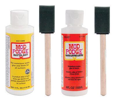 "Mod Podge waterbased sealer/glue 4oz 1ea Matte & Gloss Finish & 1"" foam brushes"