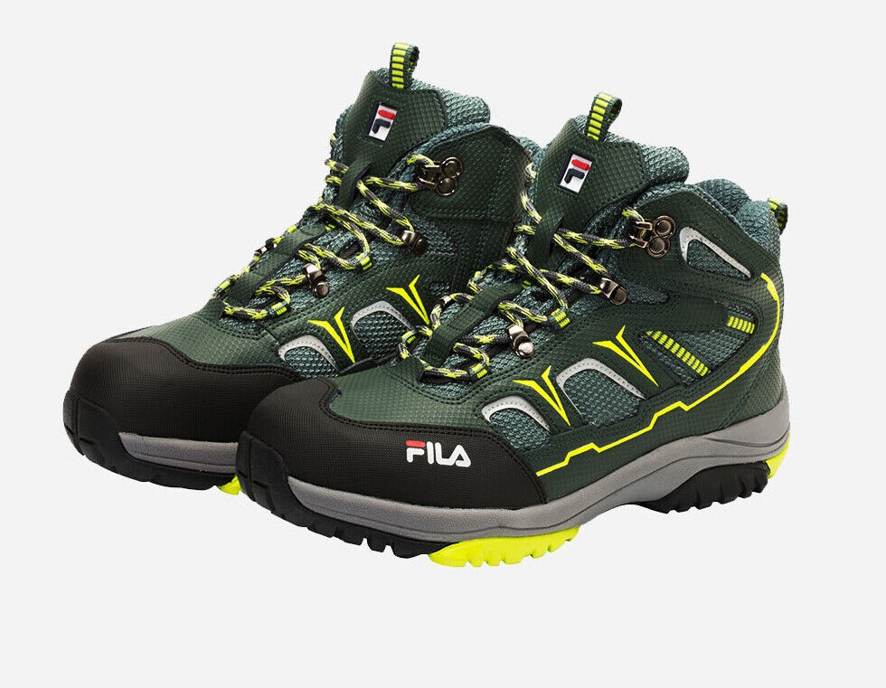 FILA Safety shoes F-603 Khaki 6 inch Work boots Zip Steel Toe US M 6.5-10.5