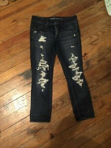 American-Eagle-Distressed-Skinny-Jeans-Ripped-Destroyed-size-6