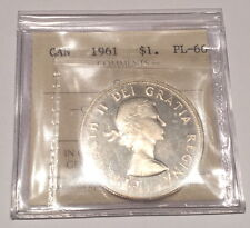 Superb GEM / 1961 Canadian Silver Dollar ICCS PL66 Cameo, BEAUTY.