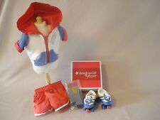 "NEW AMERICAN GIRL JULIE ROLLER SKATES AND SKATE OUTFIT 2 N 1 SET FOR 18"" DOLL"