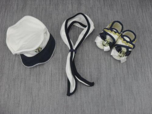 17 Halstuch Mütze Jungen Marine Babyschuhe Babyset 3-tlg Matroze Taufschuhe 16