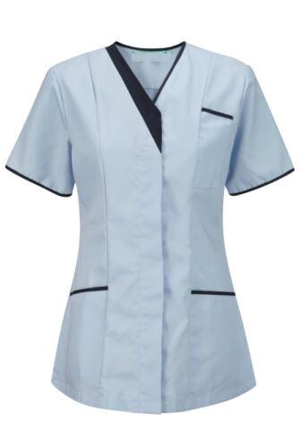 WOMENS NURSES ASYMMETRICAL HEALTHCARE TUNIC DENTAL SALON INS33SK SKY//NAVY TRIM