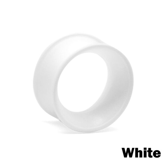 White Ear Eyelet, Plug, Tunnel made from Soft Silicone | Size 18mm