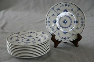 Franciscan-Denmark-Blue-White-Plates-6-034-Bread-Butter-SET-of-10-Ironstone-England