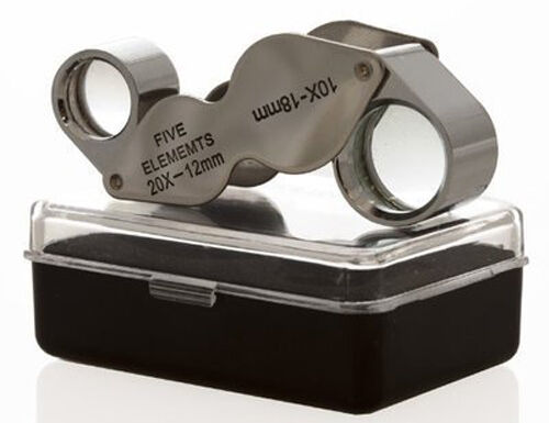 Gift Idea 10x-20x Dual Jewelers Magnifier Eye Loupe Magnifying Glass US SELLER