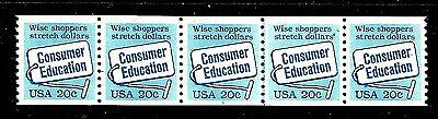 US #2005 ~ Plate #1 // MNH OG Plate Number Coil Strip of 5 [PNC-5] ~ Consumer