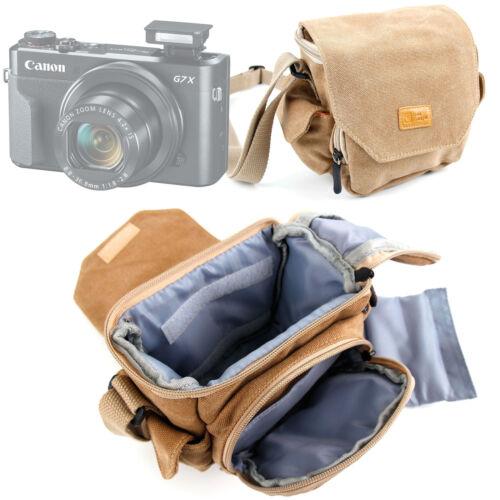 Lona Marrón Tamaño Medio Bolsa De Transporte Para Canon Powershot G7 X Mark IISX720 Hs