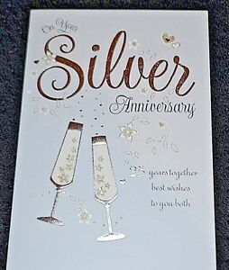Details About New Happy Silver Wedding Anniversary To You Both Congratulations Greetings Card