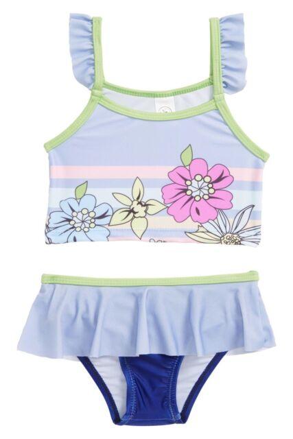 ROXY BABY INFANT GIRL/'S 2 PC SWIMSUIT FLORAL BLUE PRINT BIKINI SET 6-12M