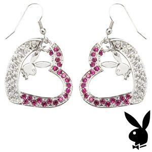 Playboy-Earrings-Silver-Bunny-Heart-Dangle-Pink-Crystal-Platinum-Gem-GRADUATION
