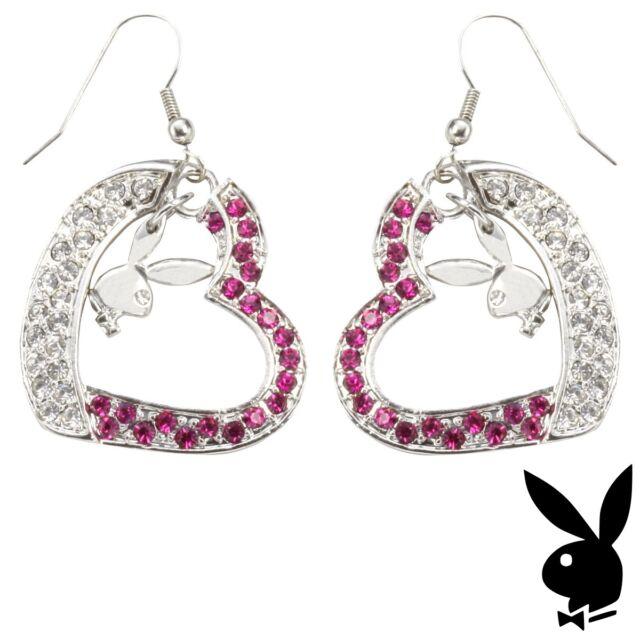 Playboy Earrings Silver Plated Bunny Heart Dangle Pink Swarovski Crystal Fashion