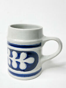"Williamsburg Pottery 16oz Mug 5"" Blue Salt Glazed Stoneware"
