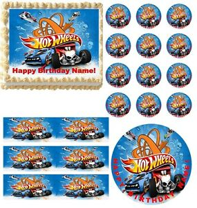 Edible Cake Decorations Cars : HOT WHEELS Race Car Party Edible Cake Topper Frosting ...