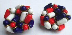 Boucles D'oreilles Clip Bijou Vintage Couleur Or Perle Porcelaine Tricolore 2138