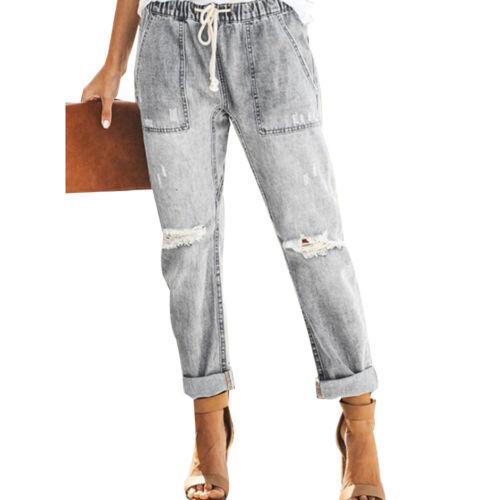 Woman Casual Jeans Ladies Pull-on Denim Joggers Elastic Waist Stretch Pants UK