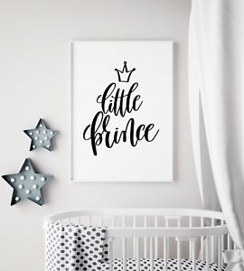 Details About Little Prince Black White Baby Boy Nursery Print Kids Room Wall Art Picture
