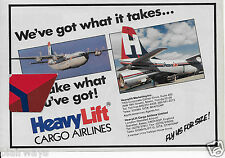 HEAVYLIFT CARGO AIRLINES 1987 BRISTOL BELFAST #G-BEPE WE'VE GOT WHAT IT TAKES AD