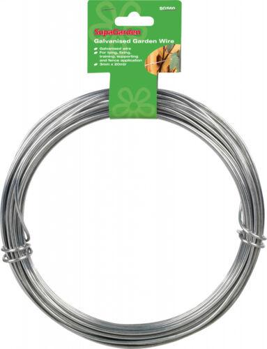 3mm x 20m Garden Wire Galvanised Fencing Training Fixing Etc