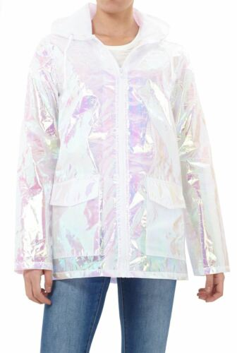 Womens Waterproof Holographic Zipped Neon Festival Mac Jacket Parka Raincoat