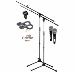 Microphone-Boom-Arm-Stand-2-Pack-Holder-XLR-Cable-Cardioid-Dynam-Vocal-Mic-Clip