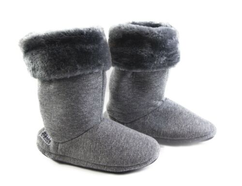 Womens Grosby Hoodies BOOTS PLUSH FLUFFY NAVY GREY Slippers Size S M L XL