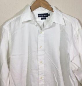 Ralph-Lauren-Yarmouth-Long-Sleeve-Button-down-Mens-Shirt-White-Size-17-5-35