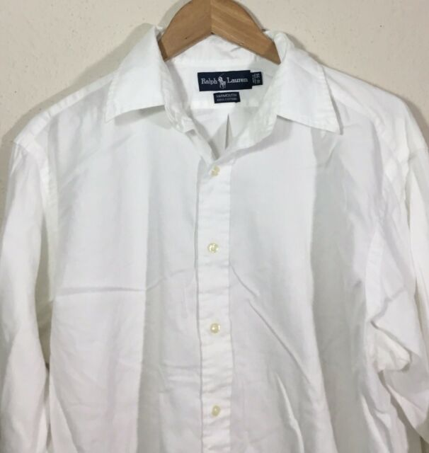 Ralph Lauren Yarmouth Long Sleeve Button down Mens Shirt White Size 17.5-35