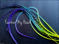 "Tie Dye Fade Feather Hair Extensions Multi Colored 7""-9"" Snow Cone Grizzly/Solid"
