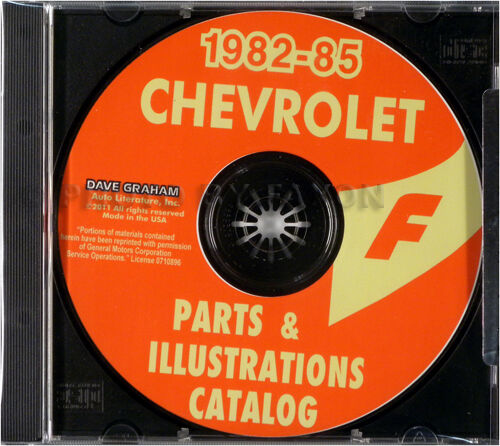 Chevy Camaro Parts Book on CD 1982 1983 1984 1985 Chevrolet Catalog Berlinetta