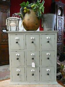 meuble de style grainetier a 9 tiroirs avec