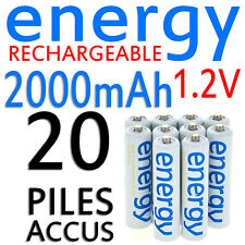 20 PILES ACCUS RECHARGEABLE AAA ENERGY NI-MH 2000mAh 1.2V LR03 LR3 R03 R3 ACCU