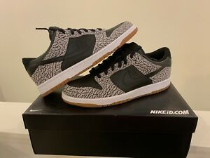 buy online 6dc64 4e823 Details about Nike ID Dunk Low Supreme Black Cement Gum SB Sz 10.5 Pigeon  Panda