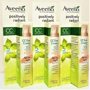 3-PACK-Aveeno-Positively-Radiant-CC-Eye-Cream-Fair-to-Light-SPF-25-0-5-oz-15ml