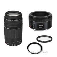 2 Lens Kit Canon Ef 50mm F/1.8 Stm + Ef 75-300mm F/4-5.6 Zoom Lens + Filters,