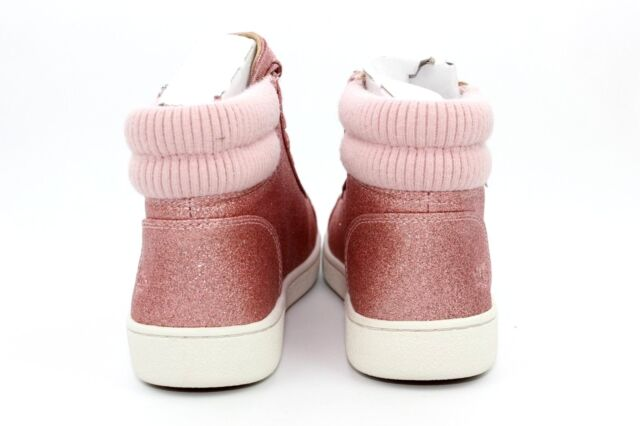 e9c4a9fad28 UGG Olive Glitter Rib Knit Collar Pink High Top SNEAKERS Size 9.5 US