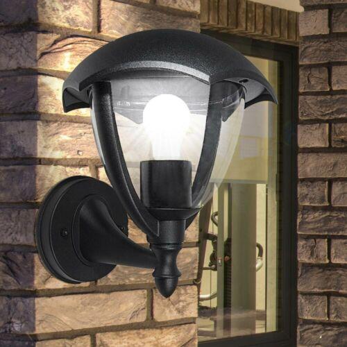 Außen Laterne Haus Wand Balkon Leuchte ALU Garten Terrassen Glas Lampe schwarz