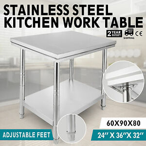 2x3ft Kitchen Work Prep Table Food Stainless Steel Commercial Strong