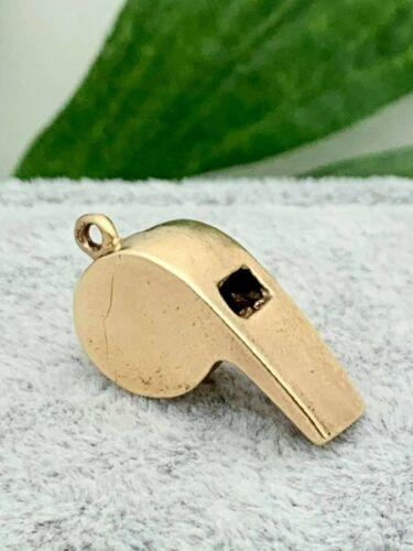 14K Gold Whistle Estate Charm, Vintage Jewelry,Coa