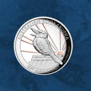 Australien-30-Jahre-Kookaburra-8-2020-PP-Silber-5-Unzen-Gilded