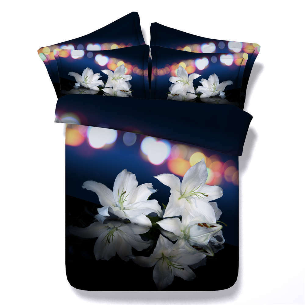 Attractive Lily 3D Printing Duvet Quilt Doona Covers Pillow Case Bedding Sets