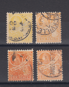 New-South-Wales-SG-340-343-used-1905-6p-QV-amp-COA-all-4-colors-per-Gibbons-F-V