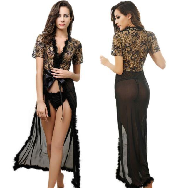 Women\'s Lace Sleepwear Lace Gown Bath Robes Nightwear Dress G-strings Underwear