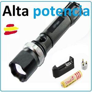 Linterna LED Recargable T6 Táctica Caza Pesca Trabajo Luz de Alta Potencia 18650