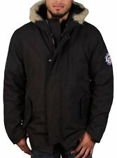 [77 42]U.S. Polo Association Men's Parka with Fur Hood Large Black