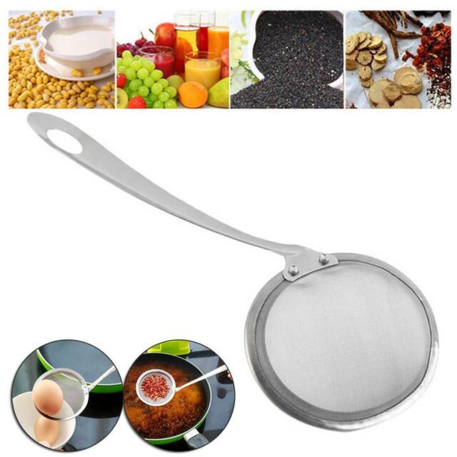 Stainless Metal Soup Ladle Spoon Skimmer Strainer Mesh Filter Kitchen Cooking PK