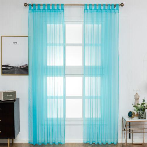 2er Set Rideaux Rideau Transparent Voile à passants 140x245cm Turquoise vh5901ts-2